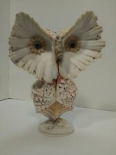 """Seashell Owl 8""""tall Angel Wing Shells Exquisite approx 6""""wide"""