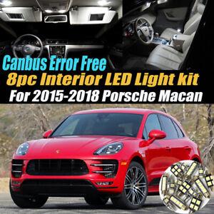 8Pc CANbus Error Free Interior LED White Light Kit for 2015-2018 Porsche Macan