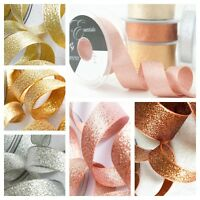 Berisfords Glitter Craft Ribbon Woven Metallic Lame 1M Choose Colour & Width