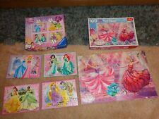 Disney PRINCESS &  BARBIE PRINCESS  Puzzles   5 Jigsaw Puzzles bundle