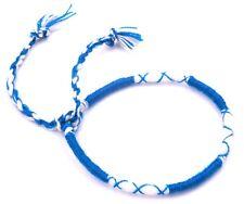 Bracelet Brésilien de l'amitié coton Porte Bonheur bleu blanc