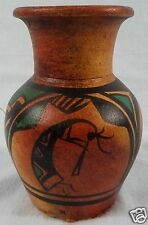"New Mexico Folk Art Pottery Vase KOKOPELLI Signed R. Galvan 5 3/4""  Tall NICE!"