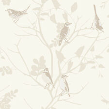 BEIGE BROWN SONGBIRD BIRDS BIRD WILDLIFE TREES FEATURE WALLPAPER RASCH 250602