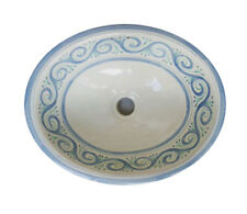 #053 LARGE BATHROOM SINK 21X17 MEXICAN CERAMIC HAND PAINT DROP IN UNDERMOUNT