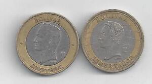2 BI-METAL COINS from VENEZUELA - 2007 1 BOLIVAR & 2005 1000 BOLIVAR