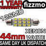 12 SMD LED 43mm 44mm WHITE NUMBER PLATE INTERIOR DOME LIGHT FESTOON BULB UK