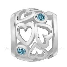Lovelinks Bead Sterlling Silver, Heart Spacer Teal Crystal Charm Jewelry TT465TE