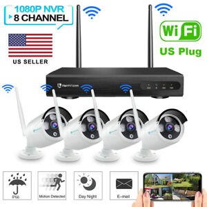 US 1080P HD WiFi Security Camera System Wireless Outdoor IP CCTV 2MP 8CH NVR Kit