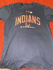 Cleveland Indians Baseball Navy Blue Under Armour T Shirt Size M