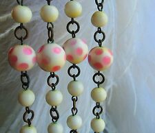 "60"" lon Czech white pink Peking glass some made as pink polka dots necklace ceip"