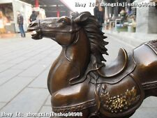 China red Bronze Carved Galloping horse in the steppe Lucky technics statuary