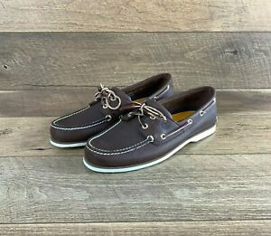 NIB Timberland Classic 2 Eyed Boat Shoe Loafer Dark Brown TB074035 Men's 10.5 US