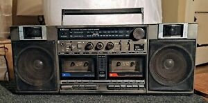 Vintage Sears LXI Series AM/FM Radio Double Cassette Recorder Ghetto Blaster