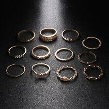 Gold Finger Ring Set 12Pcs Women Fashion Boho Jewelry Vintage Crystal Rhinestone