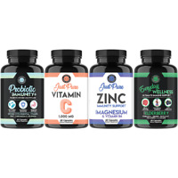 Everyday Wellness Immune Booster Support, Vitamin C Zinc, Probiotic Immunity 4PK
