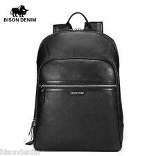 Bison Denim Large Capacity Genuine Leather Mens Backpack Outdoor Laptop SLR Bag