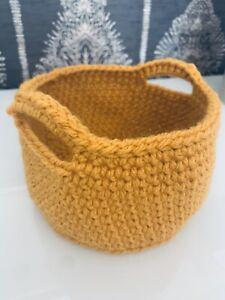 Mustard Storage Basket Crochet Handmade Bedroom Bathroom Vegan Home Decor Gift