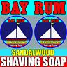 BAY RUM & SANDALWOOD Blend Mix Shaving Soap For Men - 2 Pieces Set 100% Handmade