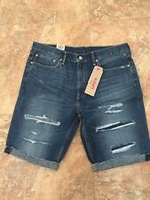 New Levi's Levis Mens 511 Slim Cutoff Ripped Denim Jeans Shorts Size 36 Blue