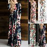 Plus Size Floral Long Sleeve Boho Dress Women Evening Party Long Maxi Dress New