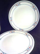 "PRINSTON Corning CORELLE 10 1/4"" DINNER PLATES (Set of 4) Pink Flowers Blue Band"