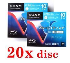 20 Sony White Hub Printable Blu-Ray BD-R BDR Blank Disc Media 4x 25Gb