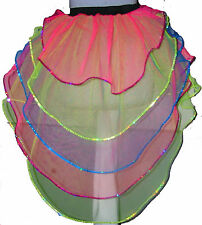 neon uv Multi rainbow Bustle Burlesque tutu Skirt Halloween costume dance party