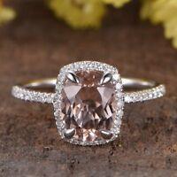 2Ct Brilliant Cushion Cut Morganite Halo Engagement Ring 14K White Gold Finish