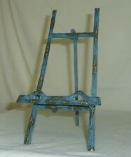 "Antiqued metal bamboo design 8.5"" collector plate hinged display easel holder"