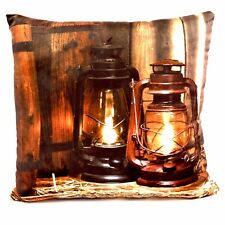 LED THROW PILLOW w/Light  6 Hour Timer Western Lanterns Barrel ~ 15 x 15