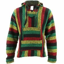 Mexican Baja Jerga rasta striped hooded hippie top