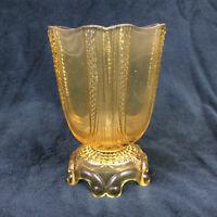 EAPG Diamond Print Loop Yellow Early Pressed Glass Spooner Antique