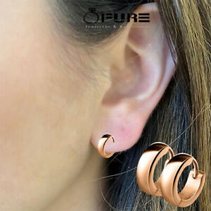 Hoop Earrings Huggie Dainty Hypoallergenic Earrings Rose Gold Surgical Steel Men
