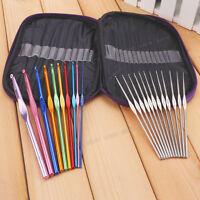 Aluminum Crochet Hooks Needles Knit Knitting Craft 22 Needle Set with Case