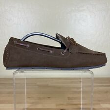 Clarks Moccasin Moc Slippers Flannel Lined Mens Size 9 M Brown Leather