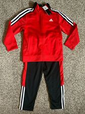 adidas Little Boys 3 Stripe Full Zip Jogger Track Suit Red Black 3T 4T 5 6 7