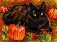 BCB Black Cat in the Pumpkin Patch Print of Painting ACEO 2.5 x 3.5 Inches