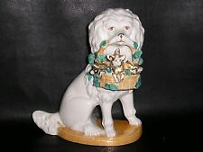 Antique German Porcelain Poodle Dog with Basket of Pigs.