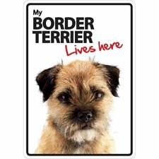 My Border Terrier Lives Here A5 Plastic Sign