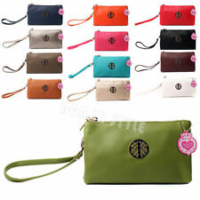 Zip Patternless Clutch Bags with Outer Pockets