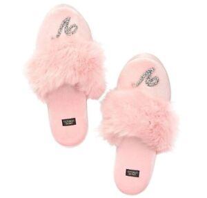 Victoria's Secret Velvet Logo Slippers Rhinestone Faux Fur Pink Black NEW