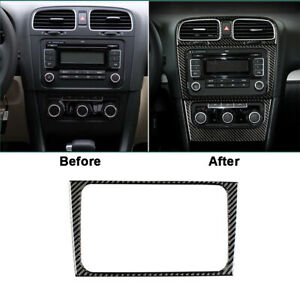 Carbon Fiber Interior CD Panel Cover Trim  For VW golf6 gti R MK6 2008-2012