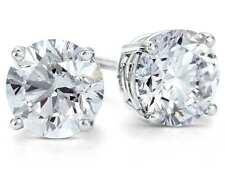 1.75 Ct Round Studs Earrings Solid 18K White Gold Brilliant Cut ScrewBack Basket