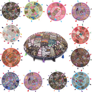 """Embroidery 32"""" Round Indien Multi Floor Cushion Cover Patchwork Throw Sofa Decor"""