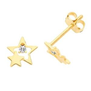 Pair of 9ct Yellow Gold Small Double Star Cz Stud Earrings - Real 9K Gold Boxed