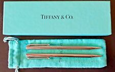 AUTHENTIC TIFFANY & CO COMPANY  SILVER PLATED TWIN PEN SET WITH BOX & CLOTH