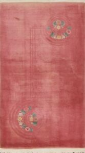 Vintage Floral Art Deco Chinese Area Rug Hand-knotted Wool Foyer Carpet 3x5 ft