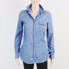 Forever 21 Womens Size S Lightweight Blue Denim Long Sleeve Shirt