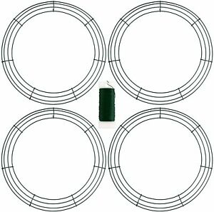 URATOT 4 Pack Metal Wreath Frame Green Wire Wreath for Christmas Wedding