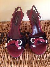 Sergio Rossi plum silk diamante shoes Size 37